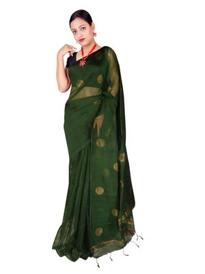 Battle Green Zari Wark Cotton Silk Ball Handloom Saree With B.P
