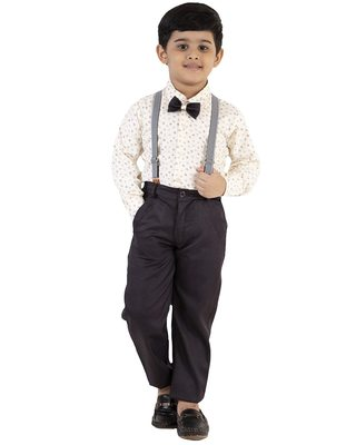 Brown plain cotton silk boys-suit