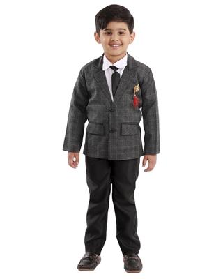 Black plain cotton silk boys-suit