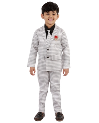 White plain cotton silk boys-suit