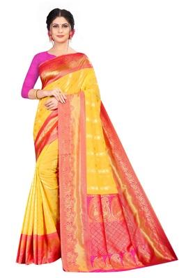 Yellow color  Kanchipuram Silk Saree with blouse