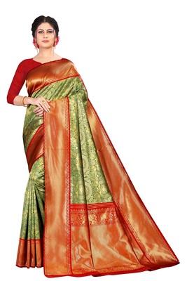 Green Color  Kanjivaram Silk Saree with blouse