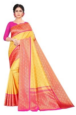 gold Color brocade Silk Saree with blouse