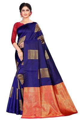 royal blue Soft Silk Saree with blouse