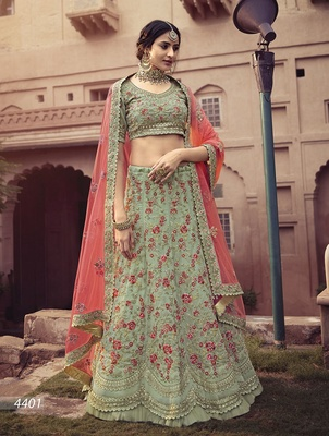 Light-green embroidered georgette semi stitched lehenga