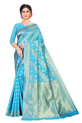 Sky blue color kota silk saree with blouse