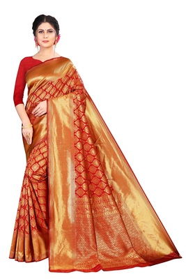 Red kota silk with rich pallu woven saree with blouse
