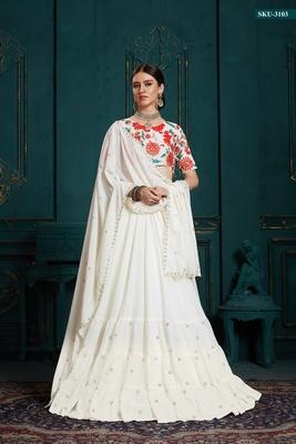 White embroidered georgette semi stitched lehenga
