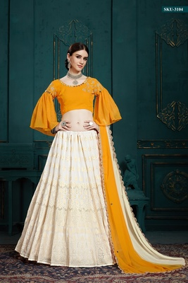 White embroidered georgette semi stitched lehenga