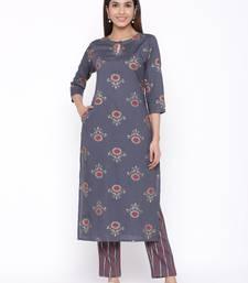Grey woven viscose rayon kurti-trouser