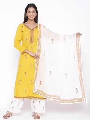 Yellow woven viscose rayon palazzo-kurta