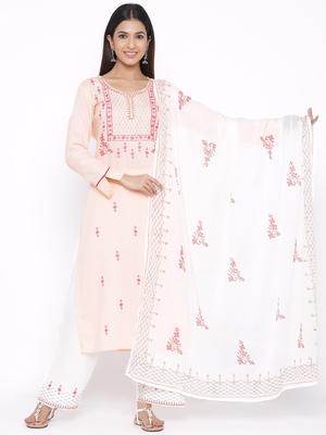 Pink woven viscose rayon palazzo-kurta