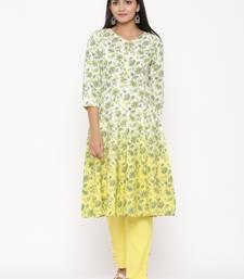Yellow woven viscose rayon kurti-trouser