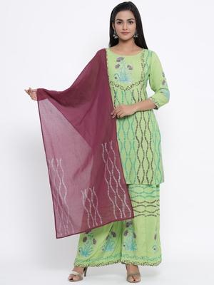 Green woven viscose rayon kurti-trouser