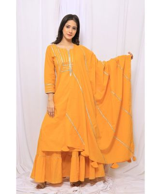 YELLOW SOLID COLOR WITH GOTA EMBELLISHED PURE COTTON KURTI DUPATTA SKIRT SET FOR WOMEN