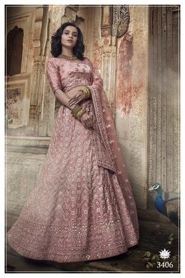 Light-pink embroidered satin semi stitched lehenga
