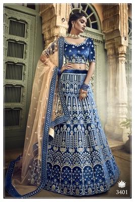 Blue embroidered velvet semi stitched Bridal lehenga