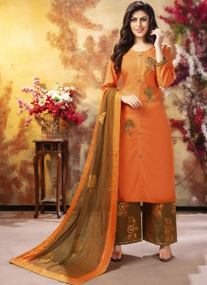 Orange And Copper Readymade Party Wear Rayon Plazzo Suit