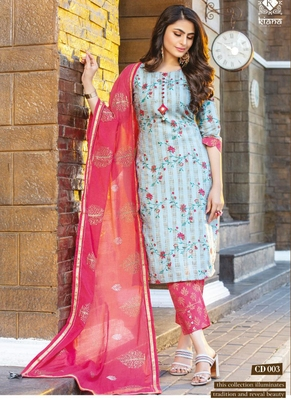 Sky Blue Pure Cotton Readymade Party Wear Suits