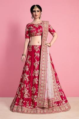 Pink embroidered velvet semi stitched lehenga