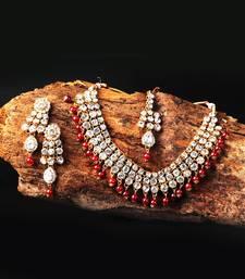 White Kundan & Red Moti Necklace Sets