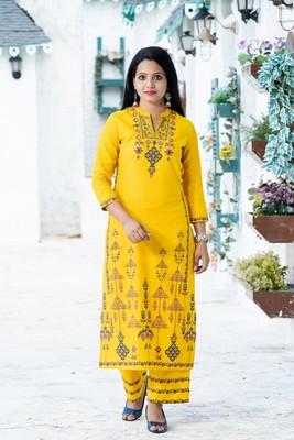 Mustard floral print cotton salwar