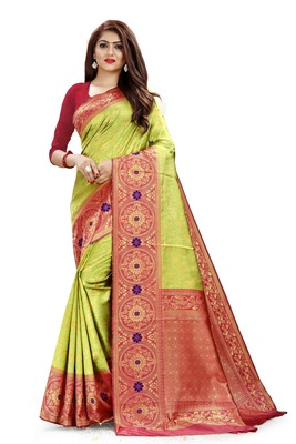 Parrot - green color jacquard Woven Silk Saree With Blouse