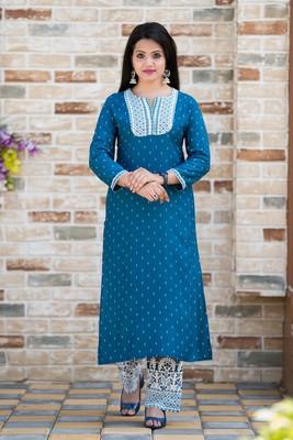 Teal-blue polka dots rayon salwar