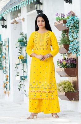 Yellow floral print rayon salwar
