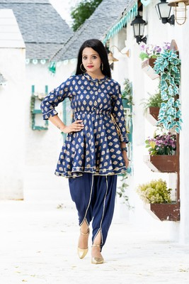 Teal-blue block print santoon salwar
