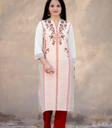 White screen print cotton salwar