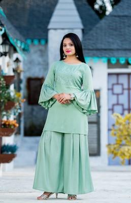 Green resham embroidery rayon salwar