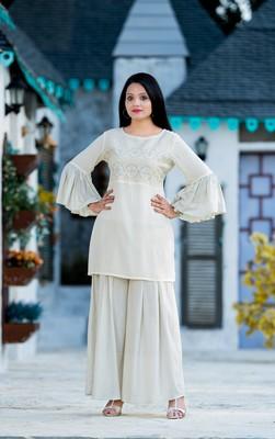 Cream resham embroidery rayon salwar