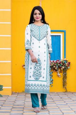 White floral print cotton salwar