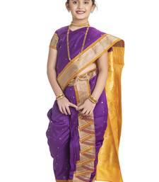 Bhartiya Paridhan Girls Ready To Wear Traditional 9 Var Magenta Shahi Mastani Saree With Stitched Blouse