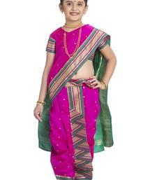 Bhartiya Paridhan Girls Ready To Wear Traditional 9 Var Rani Pink Shahi Mastani Saree With Stitched Blouse