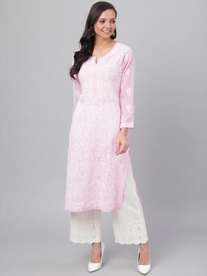Pink Faux Gerogette Lucknowi Chikankari Kurti