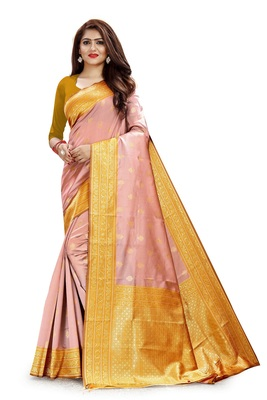 BABY PINK WEAVING KOTA SILK WITH RICH PALLU BLEND SAREE WITH BLOUSE