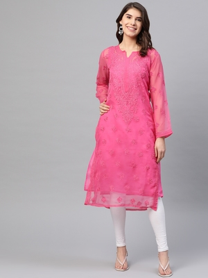 Ada Hand Embroidered Dark Pink Faux Georgette Lucknowi Chikankari Kurti