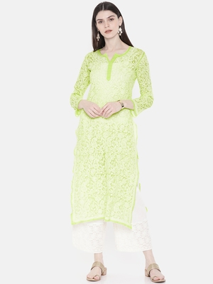 Ada Hand Embroidered Green Faux Georgette Lucknow Chikan Kurti