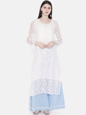 Ada Hand Embroidered White Faux Georgette Lucknow Chikan Kurti