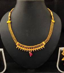Red Green Kundan Pearl Jalebi style Jewellery set