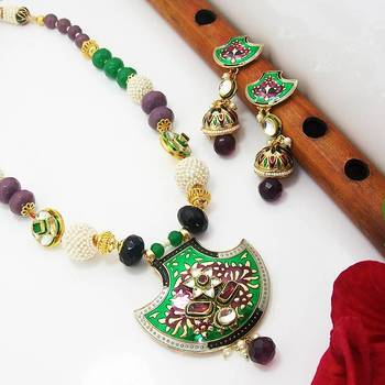 Meenakari Traditional Pendant Necklace Green Black