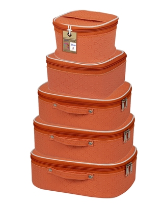 atorakushon® Fabric Makeup Storage Box Travelling Vanity Cosmetic Toiletry Bag Necklace Organizer Jewellery Pouch Peach