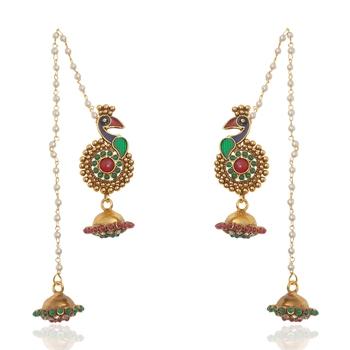 Stylish Multicolour Peacock Kahmiri Jhumka By Adiva ANSATOCBOO67 TDS 9