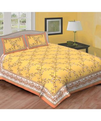 Ashnit 220 TC Cotton Double Jaipuri Print Bedsheet (Pack of 1, Yellow)