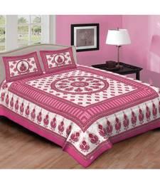 Ashnit 220 TC Cotton Double Jaipuri Print Bedsheet (Pack of 1, Pink)