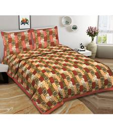 Ashnit 220 TC Cotton Double Jaipuri Print Bedsheet (Pack of 1, Beige)