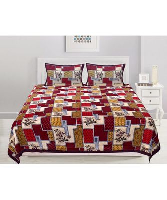 Ashnit 220 TC Cotton Double Jaipuri Print Bedsheet (Pack of 1, Red)
