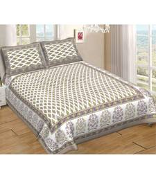Ashnit 220 TC Cotton Double Jaipuri Print Bedsheet (Pack of 1, Grey)